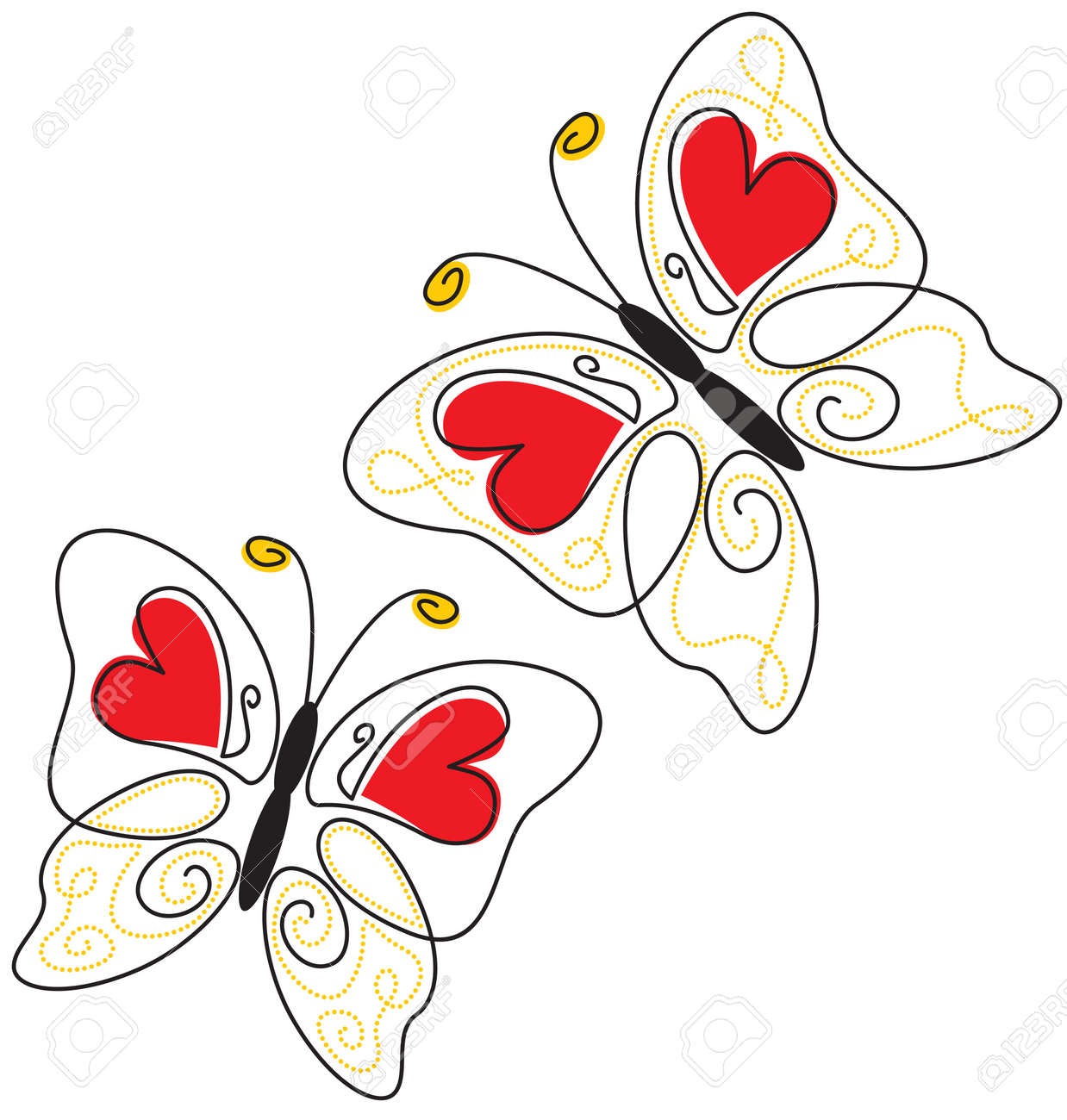 Contour Butterfly with hearts and beads on the wings Stock Vector - 14690565