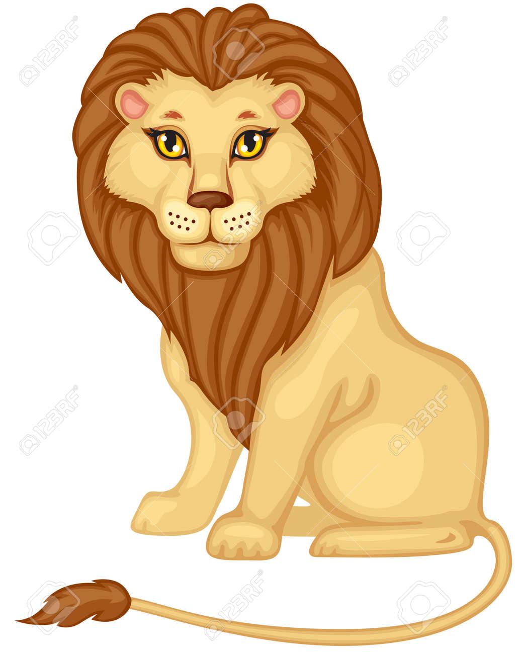 Image Couleur Dessin Anime D Un Lion Assis Clip Art Libres De Droits