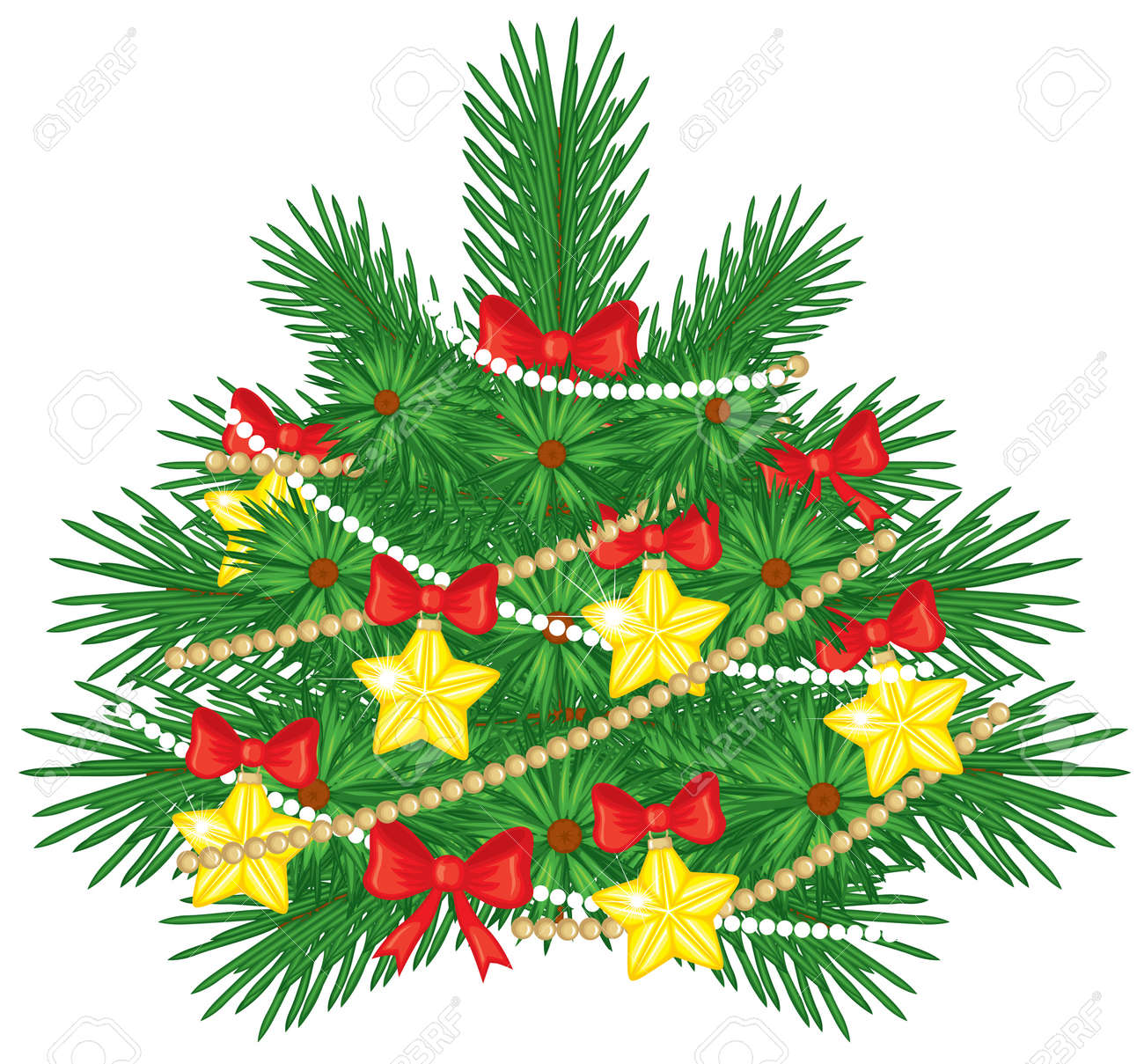 Christmas fir tree decorated with bows, stars and beads Stock Vector - 16103331