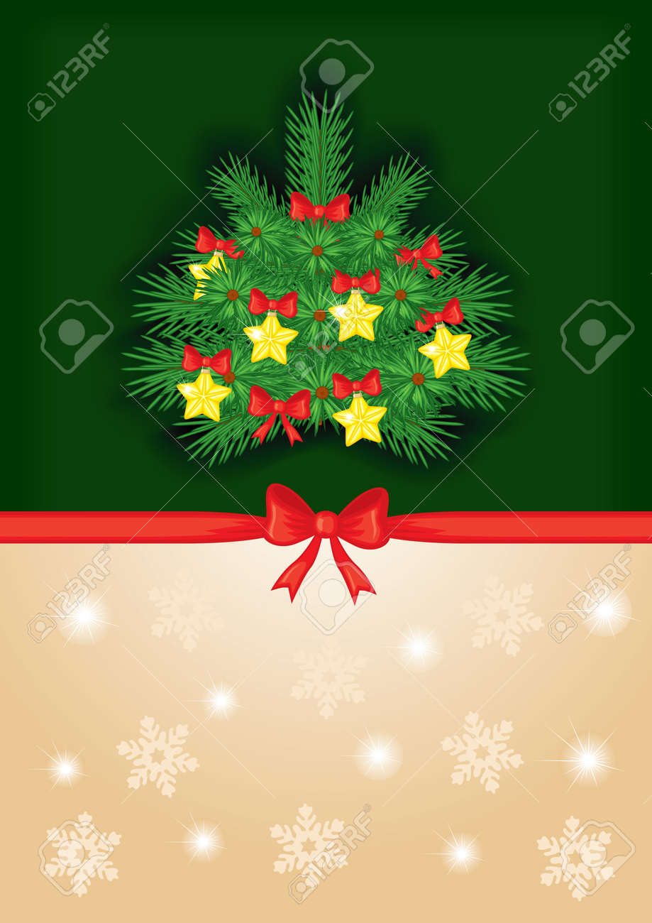 Congratulatory background with a red bow and decorated fir tree Stock Vector - 16103332
