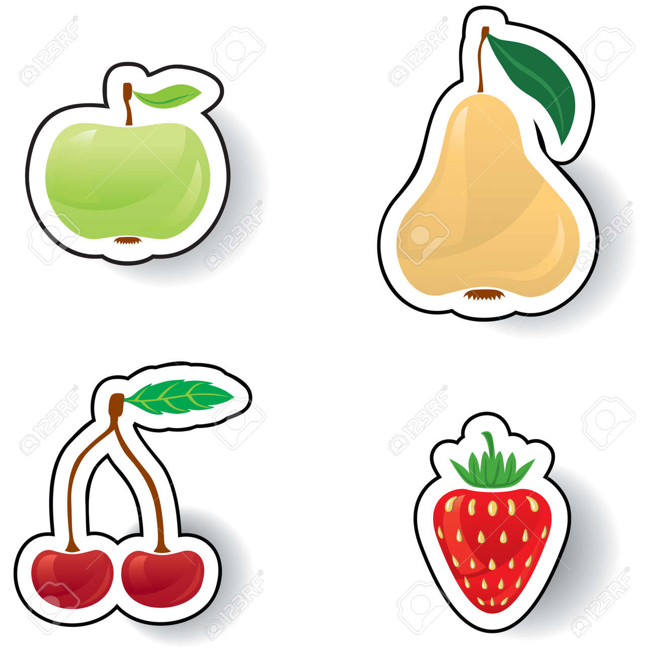Colorful fruits and berries: apples, pears, strawberries and cherries Stock Vector - 16212592