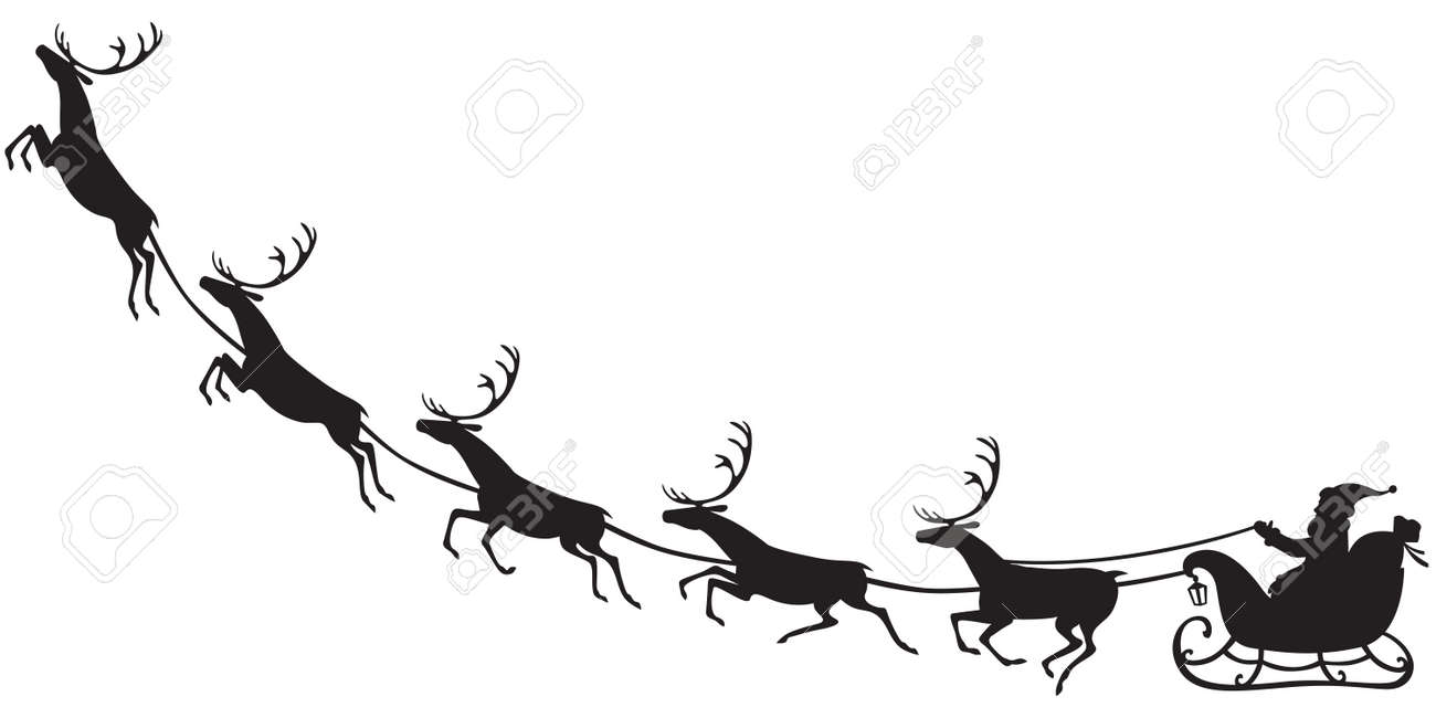 silhouette of santa claus sitting in a sleigh reindeer who pull