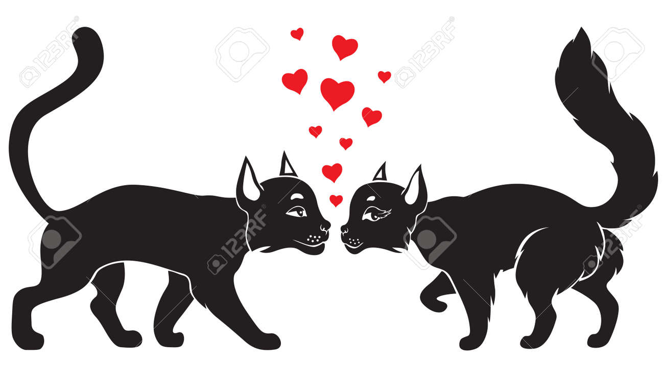 Valentine cat and kitty surrounded by hearts Stock Vector - 17032056