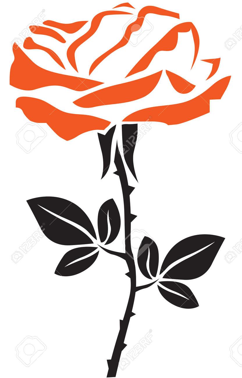 l'image stylisée d'une fleur rose sur tige luxuriante avec des