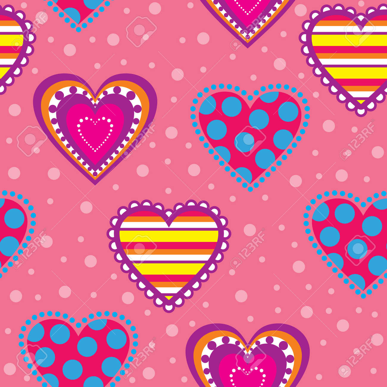 Decorative seamless background with multicolor hearts Stock Vector - 17170477
