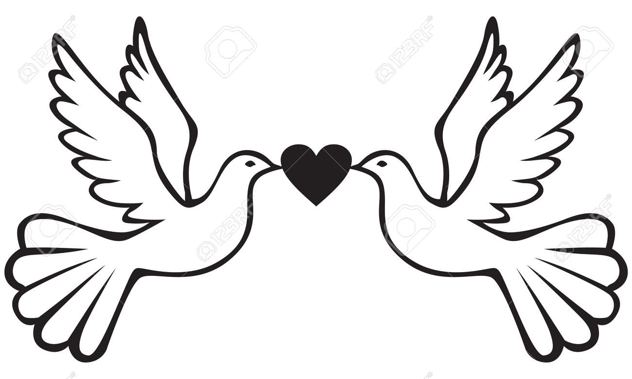 Pair Of White Doves Holding Heart Royalty Free Cliparts Vectors