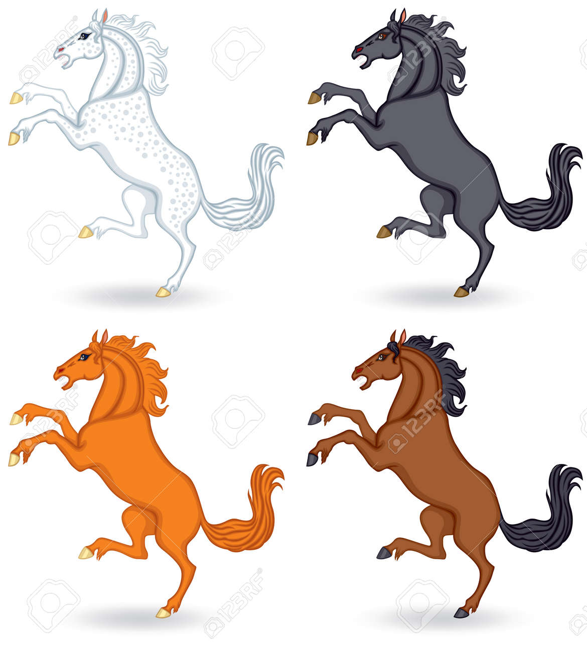 Set of images of different color horse reared up Stock Vector - 17728390