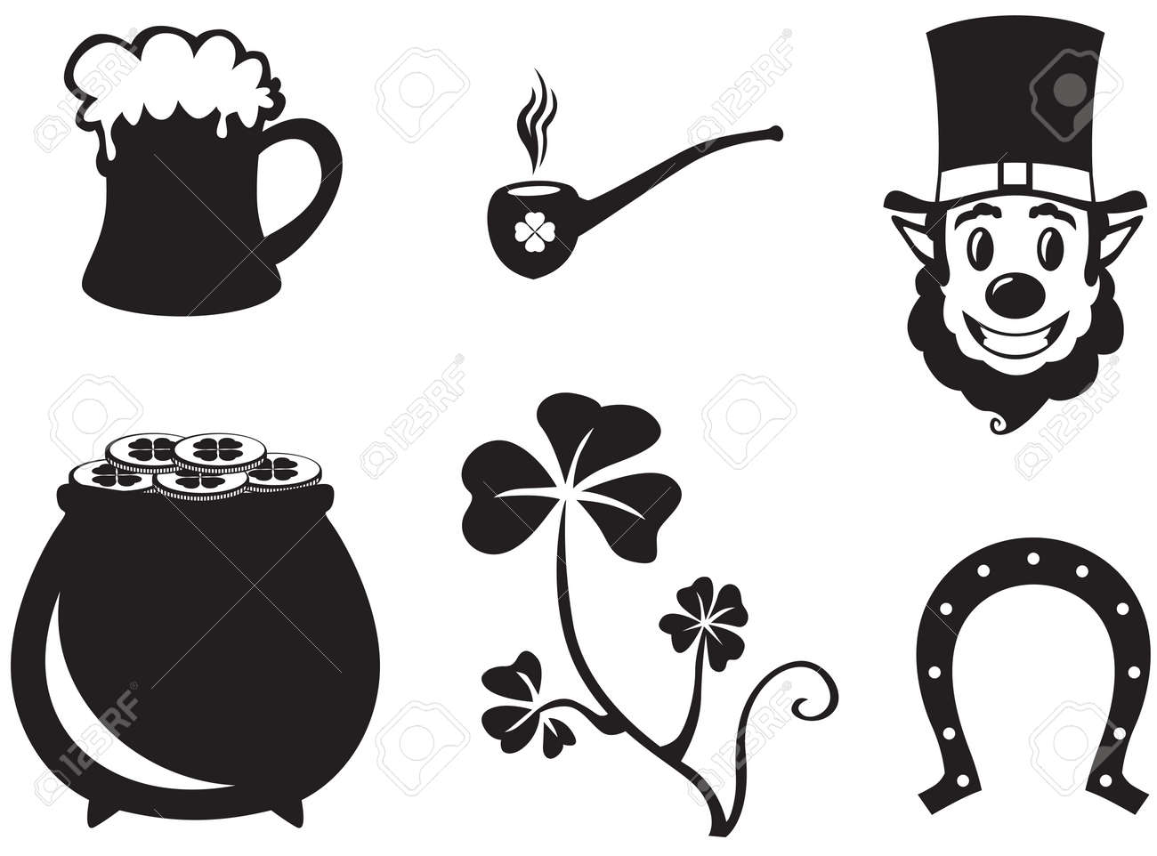 Set of silhouette images of St. Patrick's Day Stock Vector - 18036026