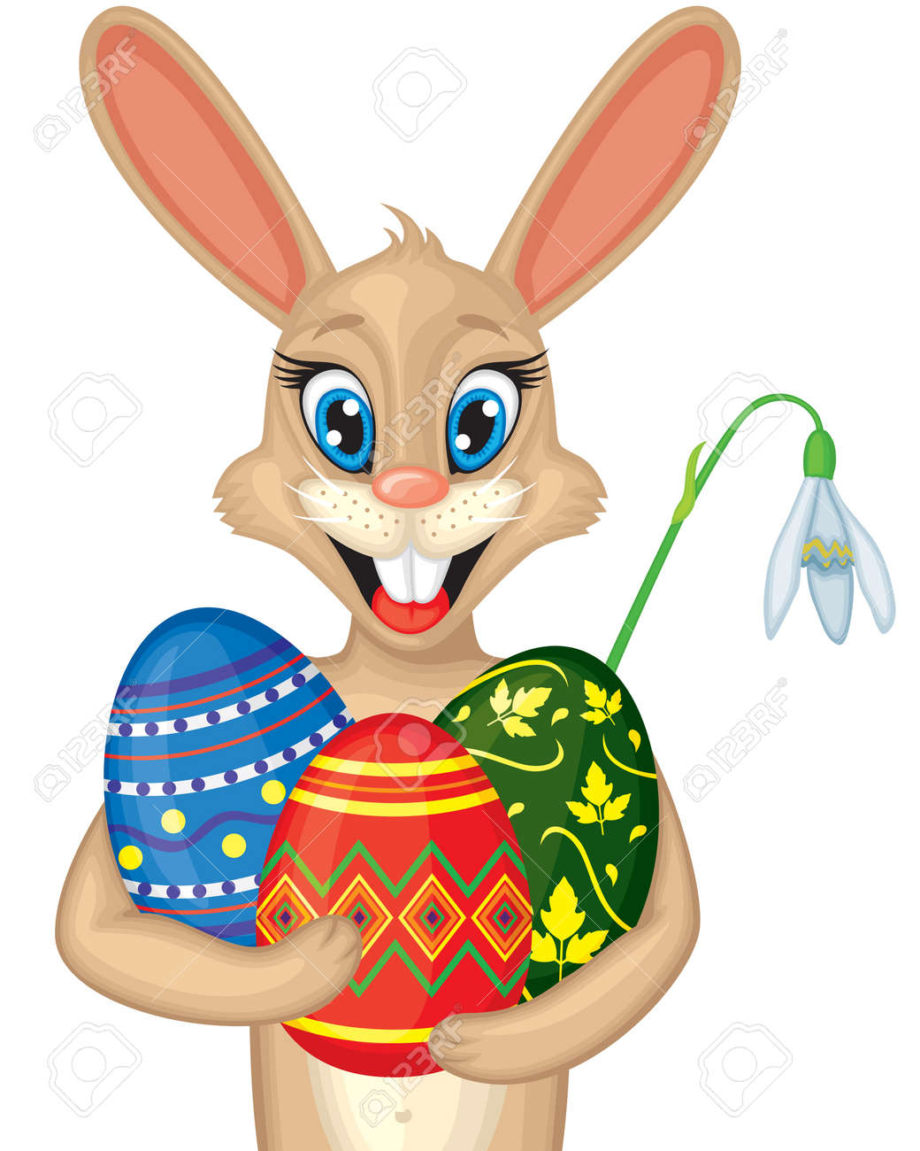 cute cartoon easter bunny portrait with easter eggs and snowdrop