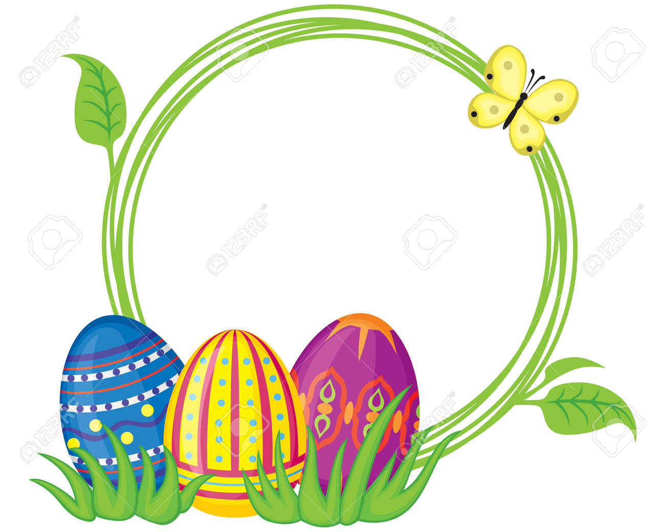 Greeting Frame With Easter Eggs And Grass Standard Bild