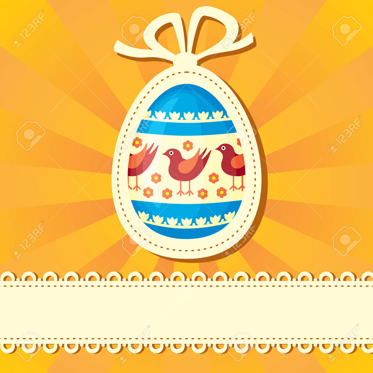 Easter congratulatory background with painted Easter egg Stock Vector - 18224657