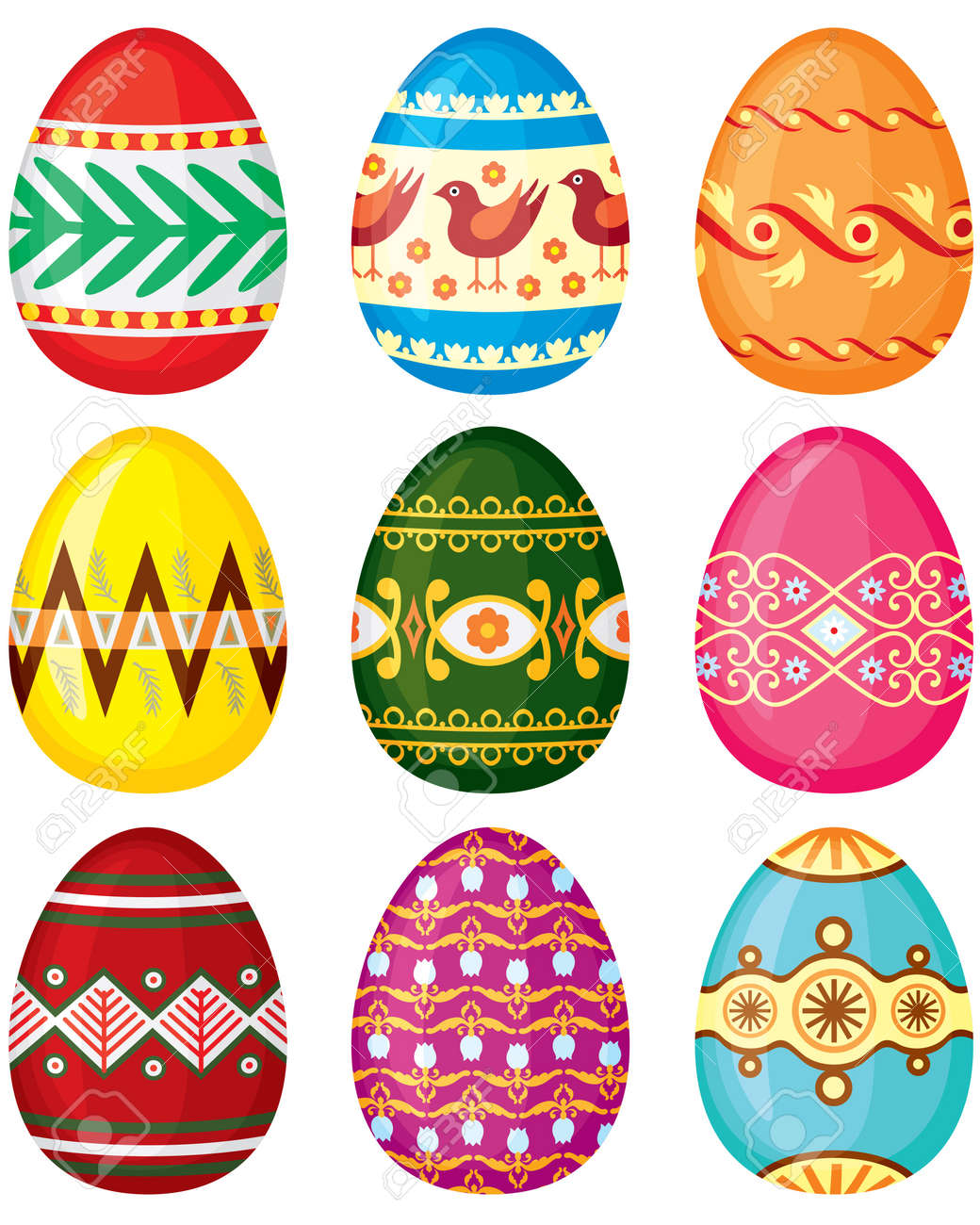 Set Of Color Painted Easter Eggs Vector Illustration No Transparency Royalty Free Cliparts Vectors And Stock Illustration Image 18224662
