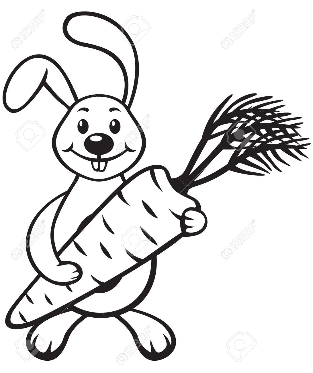 Contour Image Of Cartoon Bunny With Carrot In Paws Royalty Free ... for Clipart Carrot Black And White  110zmd