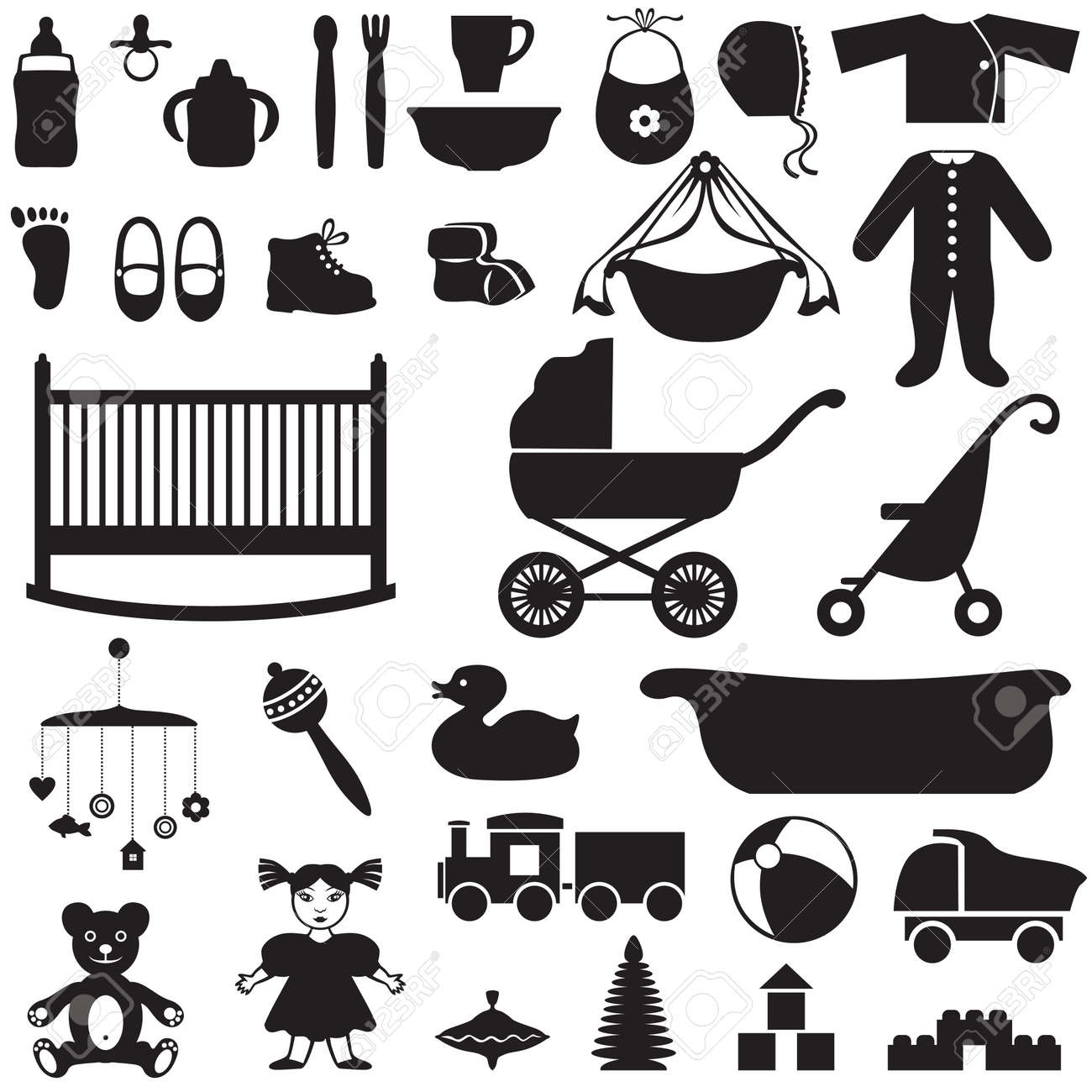 Set Of Silhouette Images Of Children S Things Royalty Free Cliparts