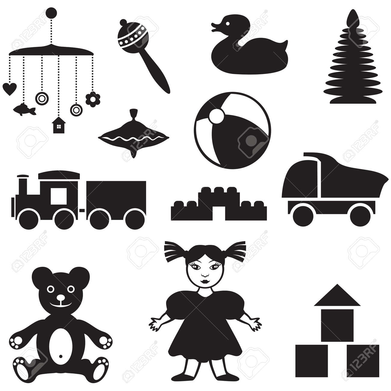 Set Of Silhouette Images Of Children S Toys Royalty Free Cliparts