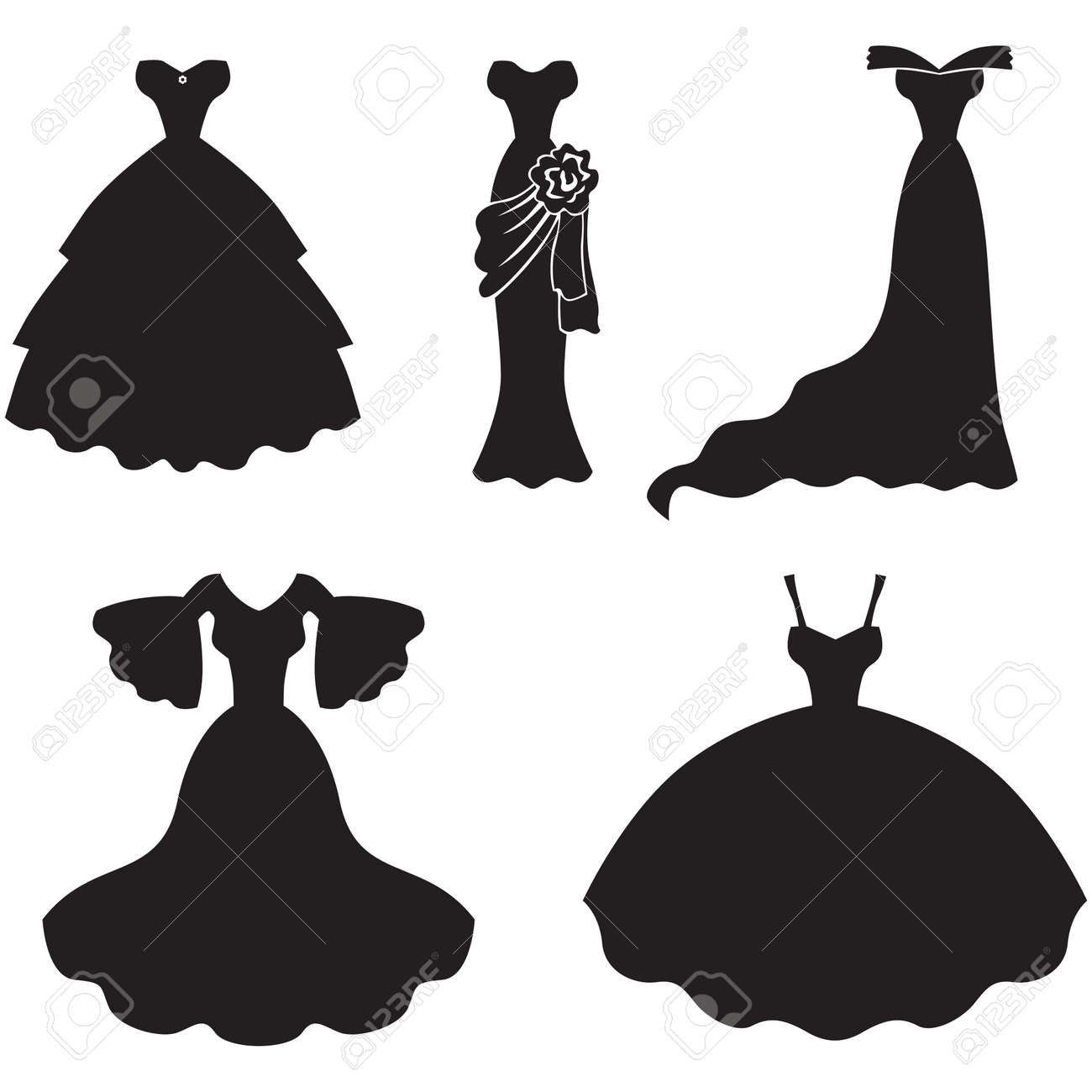 Set Of Silhouette Images Of Wedding Dress Royalty Free Cliparts ...