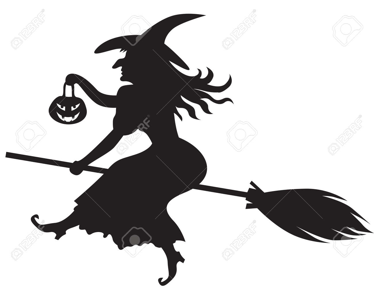 Silhouette Of Halloween Witch With A Pumpkin-lantern On A Broom ...