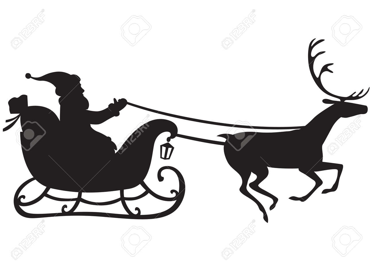Silhouette Of Santa Claus Riding A Sleigh Pulled By Reindeer And Carries Sack