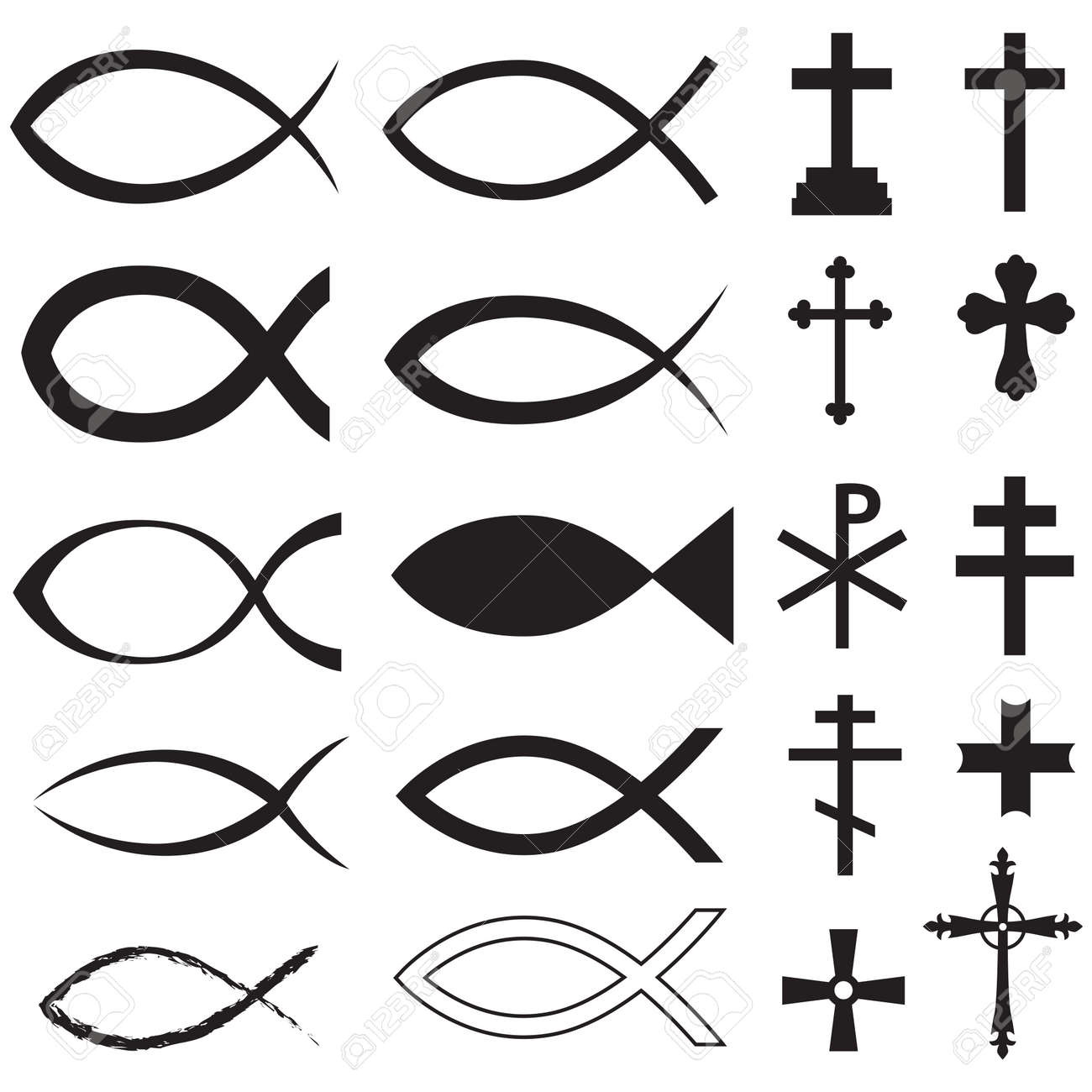 Set christian fish symbol and different crosses royalty free set christian fish symbol and different crosses stock vector 26546147 buycottarizona Gallery