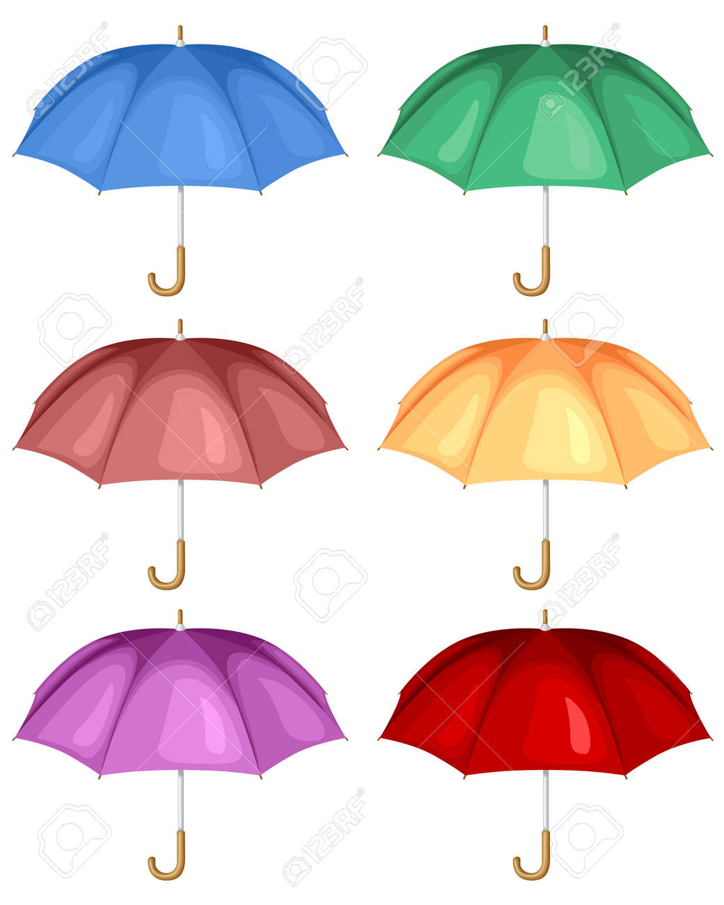 colorful cartoon umbrellas set royalty free cliparts vectors and