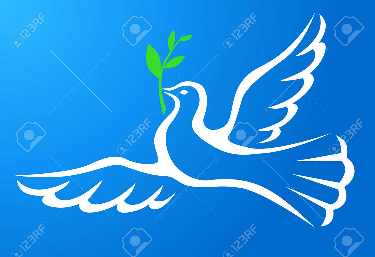 Symbol Peace Of White Dove With A Palm Branch In Blue Sky Royalty