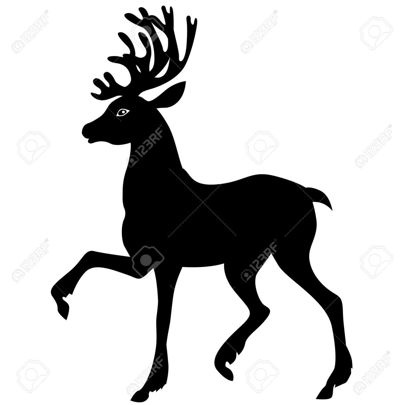 Silhouette Schwarz-Weiß-Bild Von Weihnachten Hirsch Lizenzfrei ...
