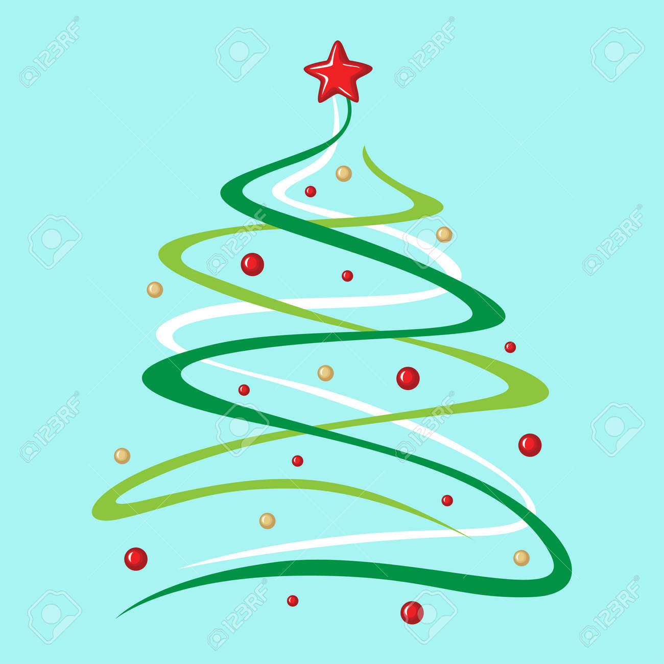 Vector Illustrations Of Christmas Greeting Card With Stylized