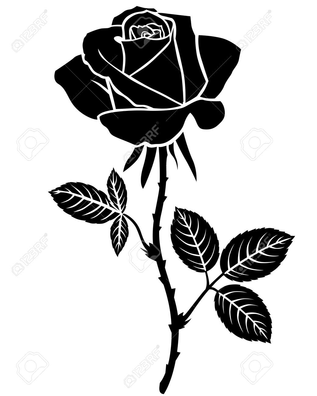 Vector illustrations of silhouette of beautiful rose flower vector vector illustrations of silhouette of beautiful rose flower isolated outline mightylinksfo
