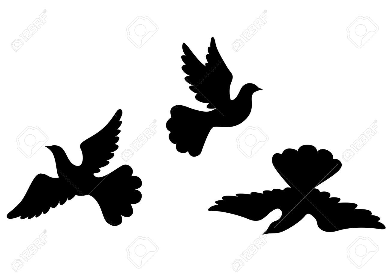 Vector illustrations of dove silhouettes set