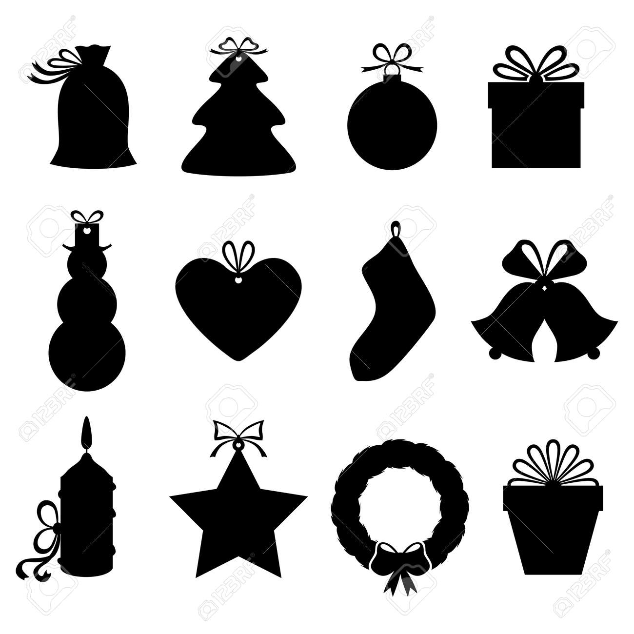 Vector Illustrations Of Silhouette Christmas Gifts And Labels Royalty Free Cliparts Vectors And Stock Illustration Image 44124295