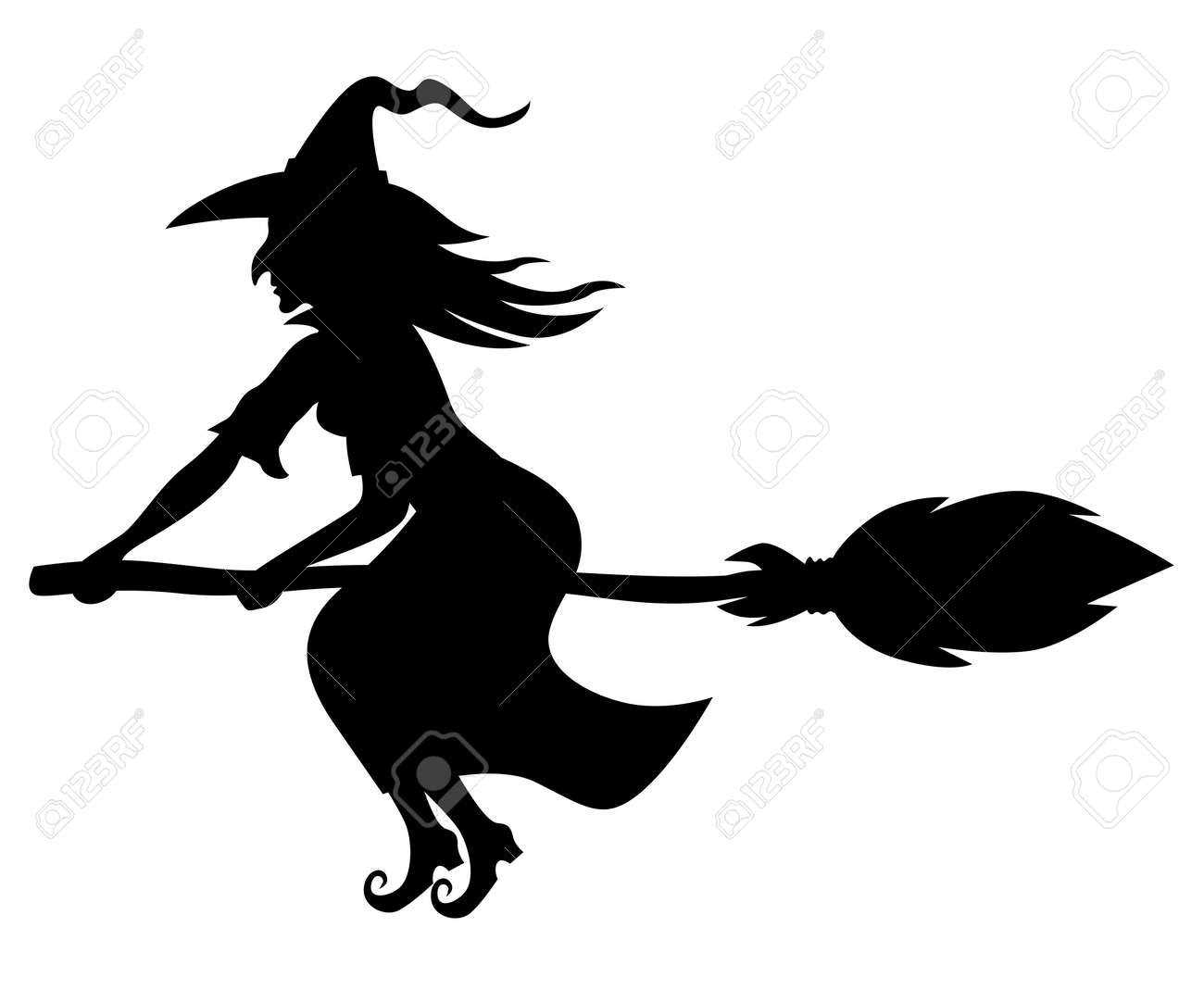 Vector illustrations of silhouette witch flying on broomstick - 44692503