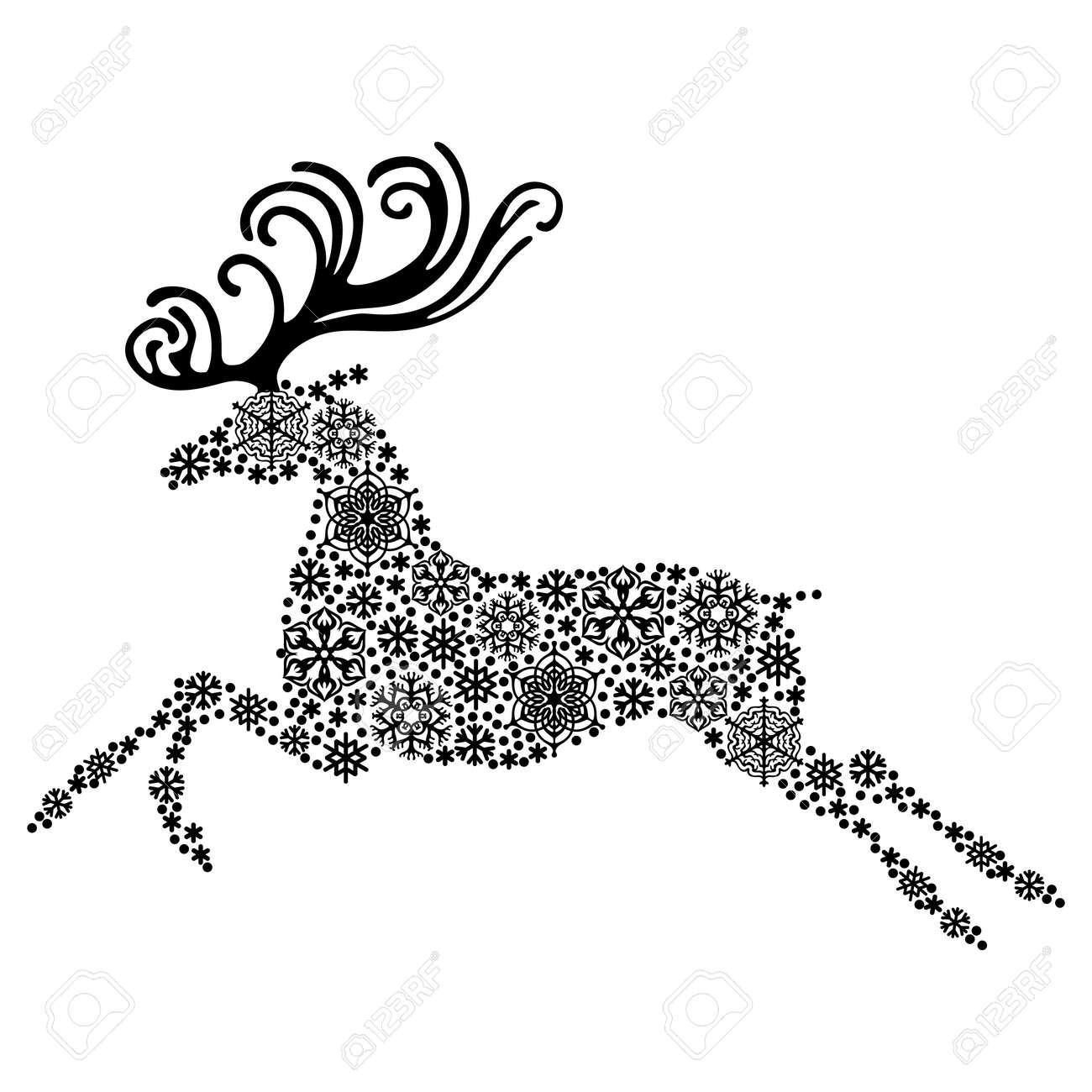 Christmas Reindeer Silhouette.Illustrations Of Christmas Reindeer Silhouette Consisting Of