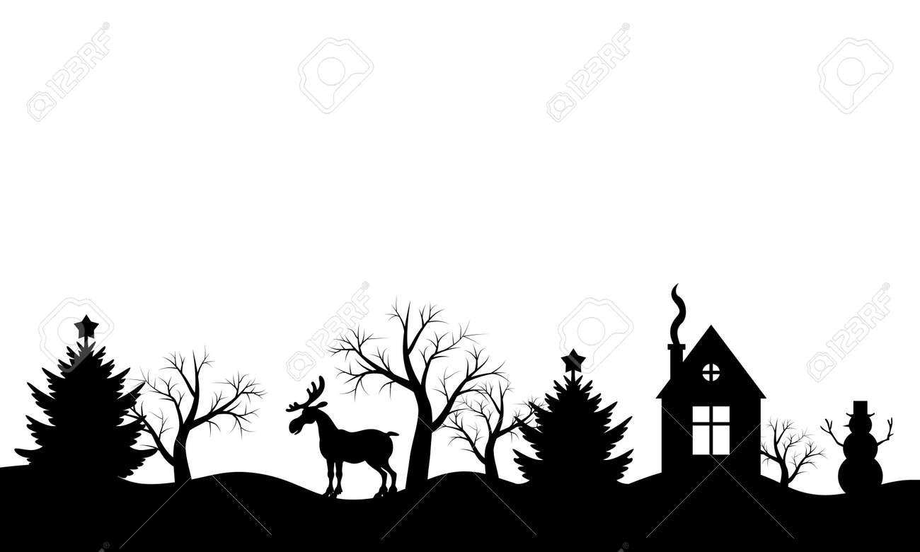 Christmas Silhouette.Illustrations Of Christmas Silhouette Winter Landscape