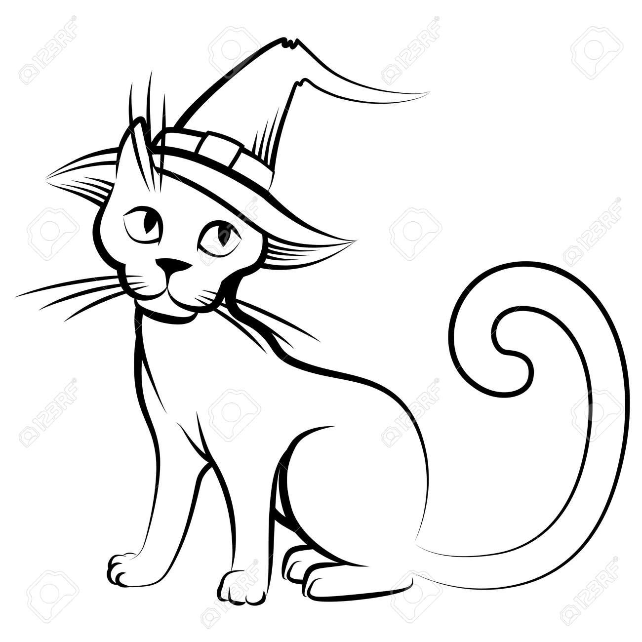 05dc8287 Vector isolated illustrations of cartoon Halloween cat in hat Stock Vector  - 47963918