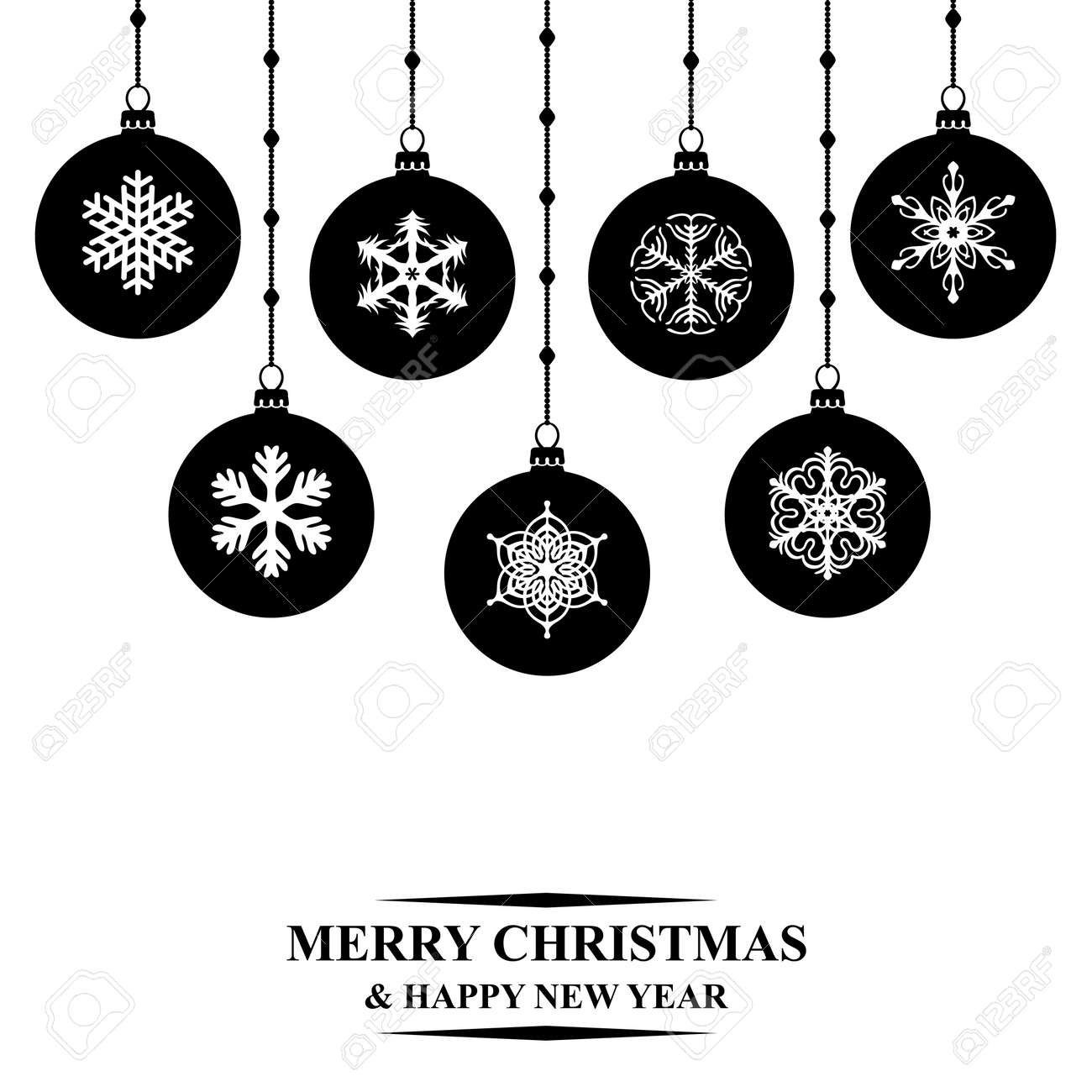 Hanging Christmas Ornaments Silhouette.Vector Illustrations Of Silhouette Christmas Balls Hanging On