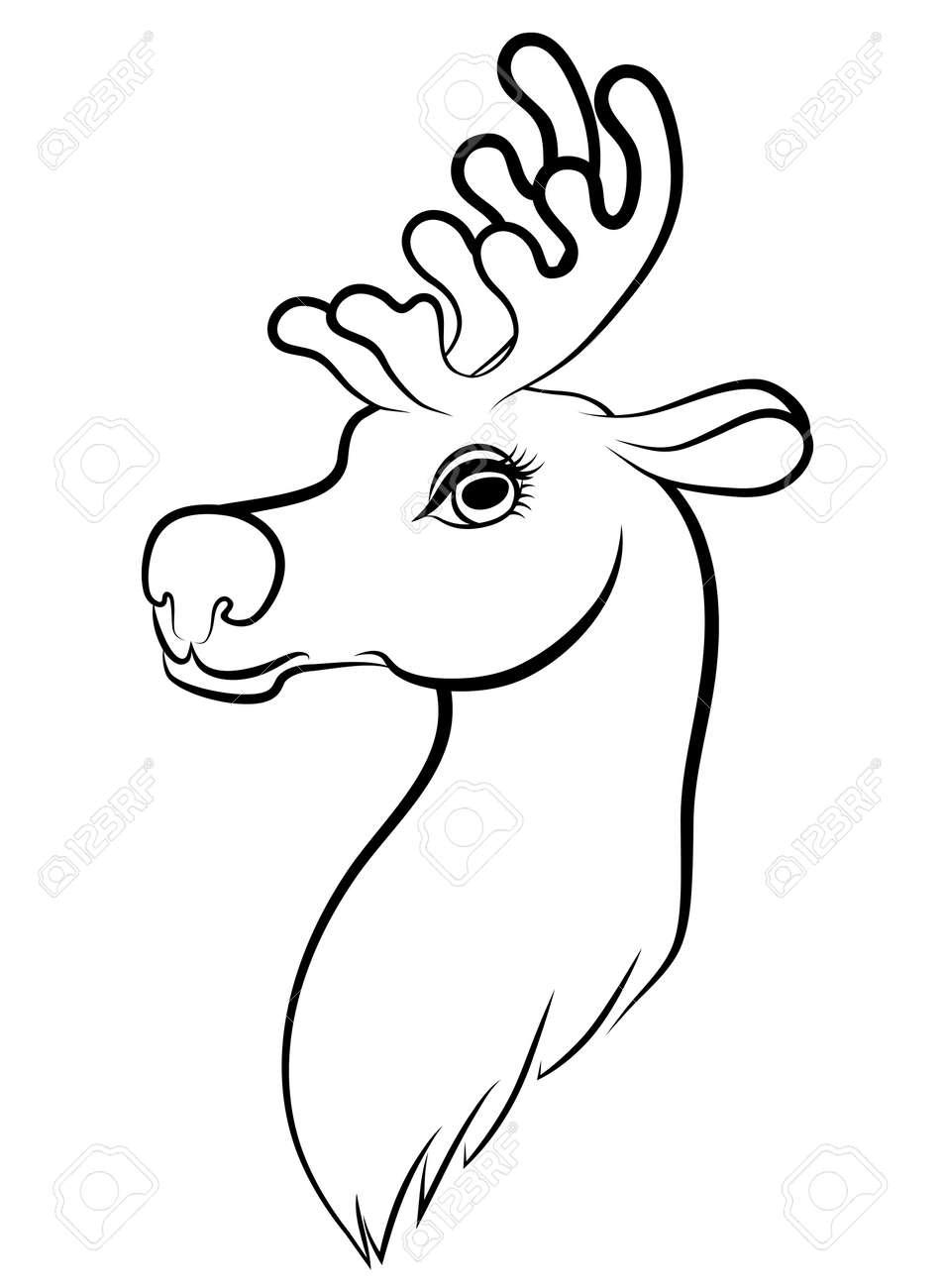 de vectores de dibujos animados contorno de navidad renos de boca foto de archivo