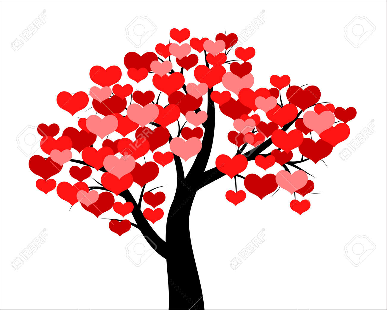 Vector Illustrations Of Tree Decorated Hearts For Valentines