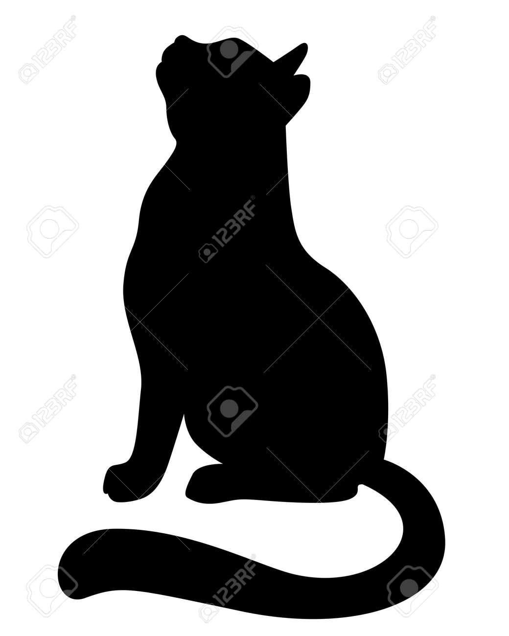 Ilustraciones del vector de la silueta de un gato mirando hacia arriba Foto de archivo - 50592202