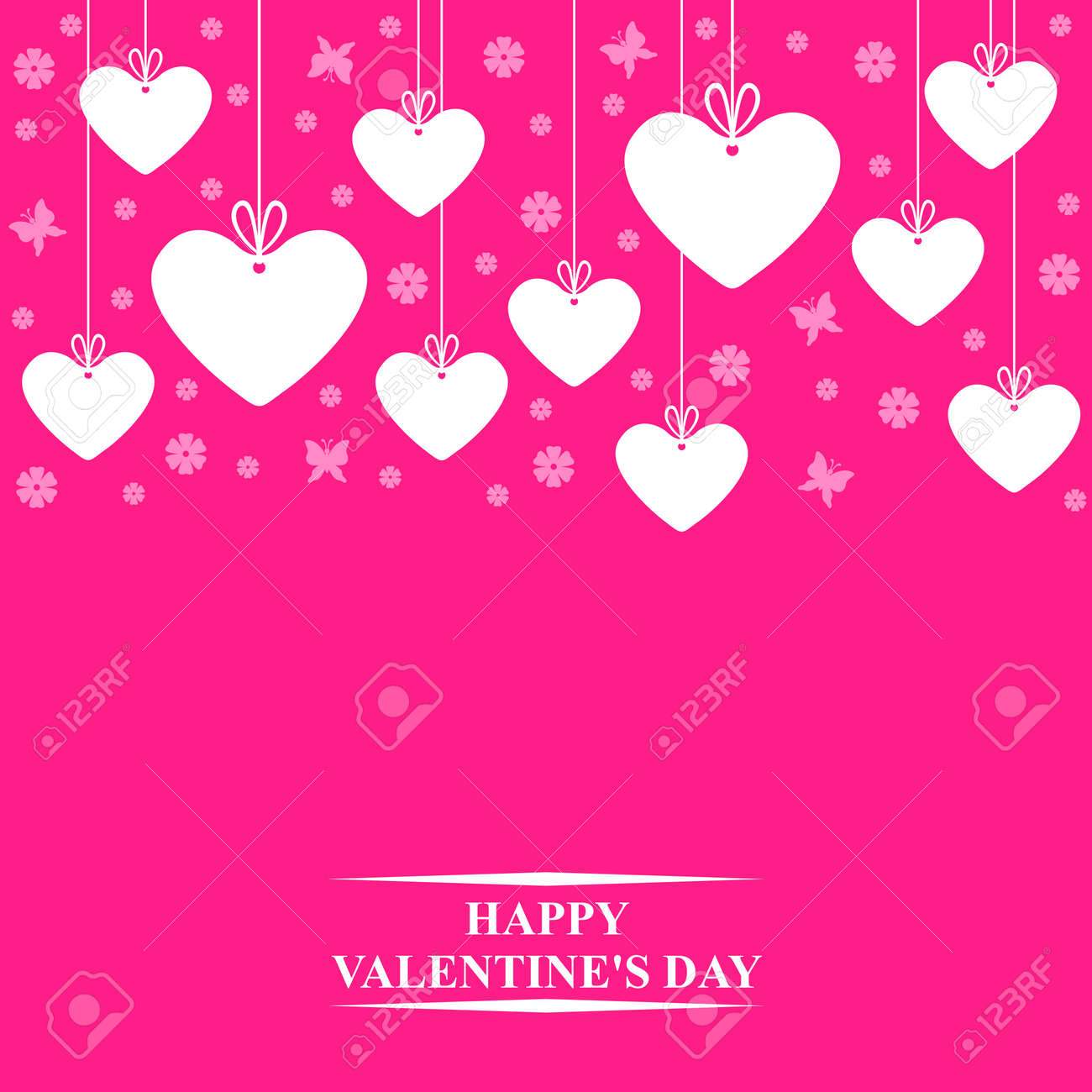 Vector Illustrations Of Valentines Day Card With Hanging Hearts
