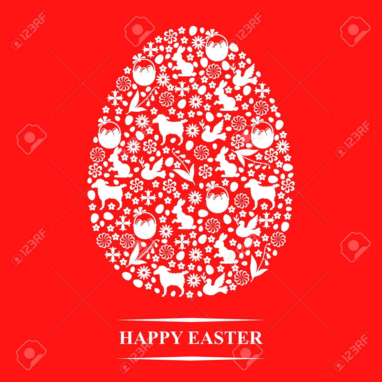 Vector Illustrations Of Easter Greeting Card In Eggs Form Of