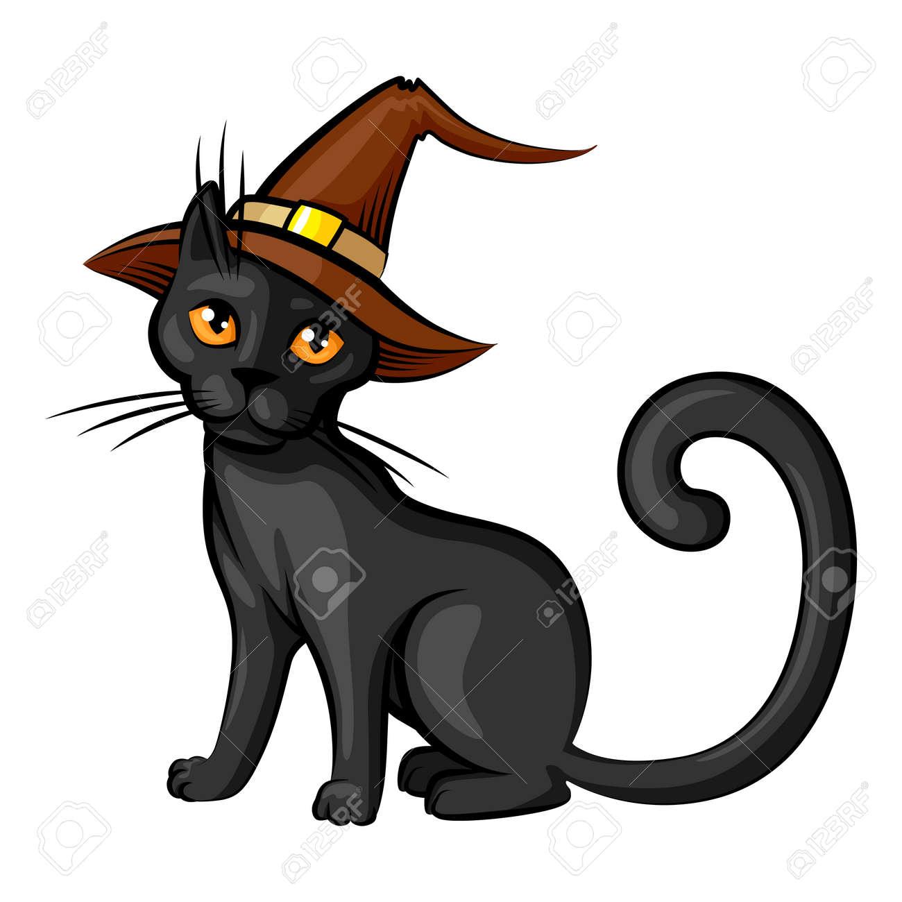 Vecteur Isolé Illustrations De Dessin Animé Chat D Halloween En Couleur De Contour De Chapeau Isolé Sur Fond Blanc