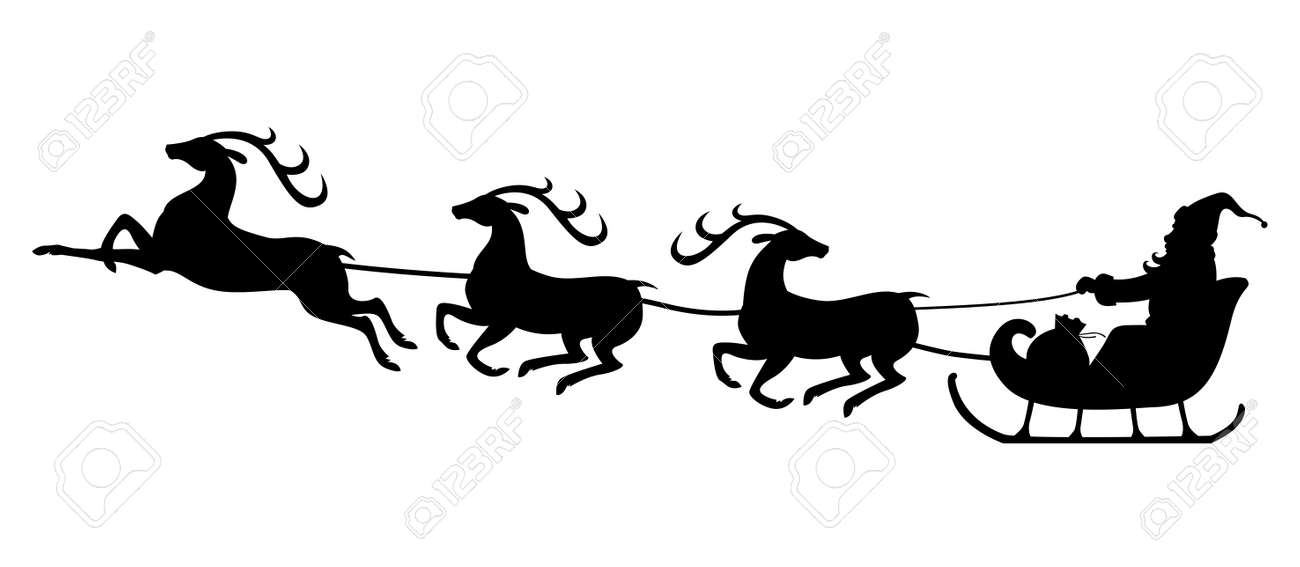 vector illustrations of christmas silhouette of santa claus riding