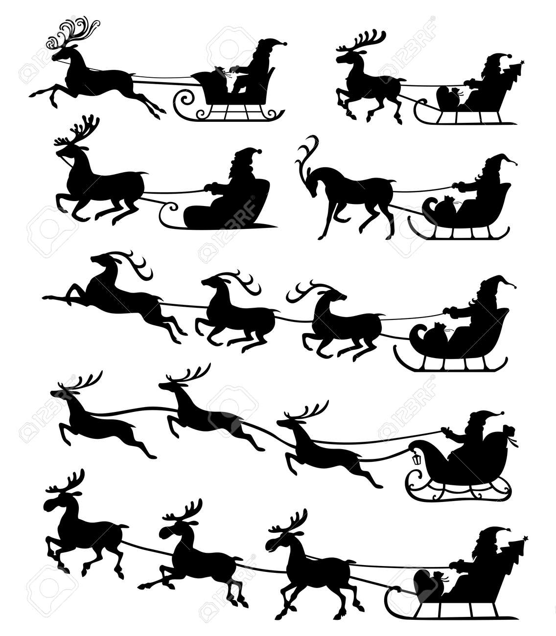 Christmas Silhouette.Vector Illustrations Of Christmas Silhouette Of Santa Claus Riding