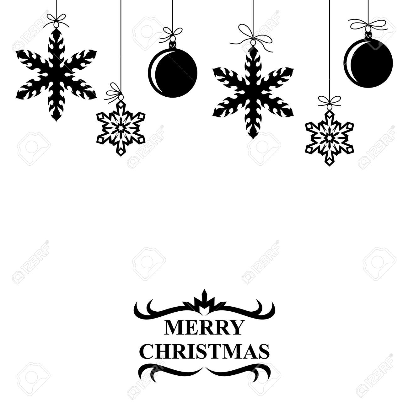 Hanging Christmas Ornaments Silhouette.Vector Illustrations Of Silhouette Of Hanging Christmas Balls
