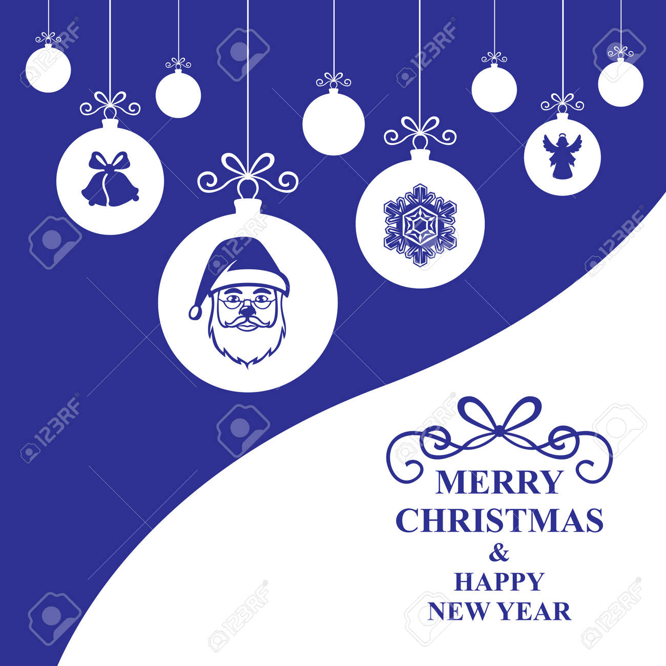 Vector Illustrations Of Greeting Christmas Card With Hang Decorative