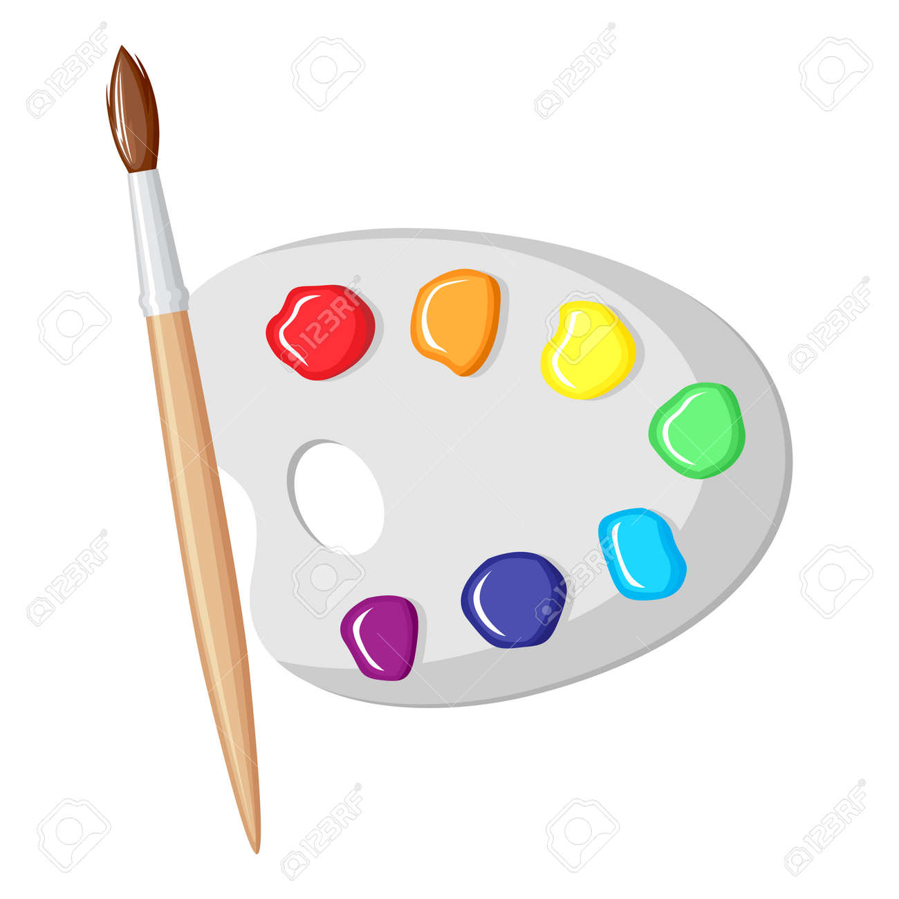 Vector Illustrations Of Cartoon Paintbrush And Palette Of Paints