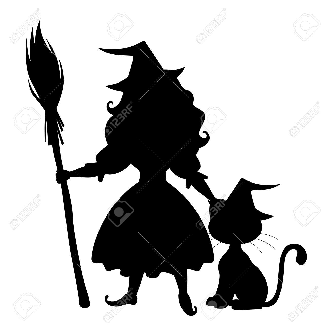 Illustrations of Halloween silhouette cute witch and cat
