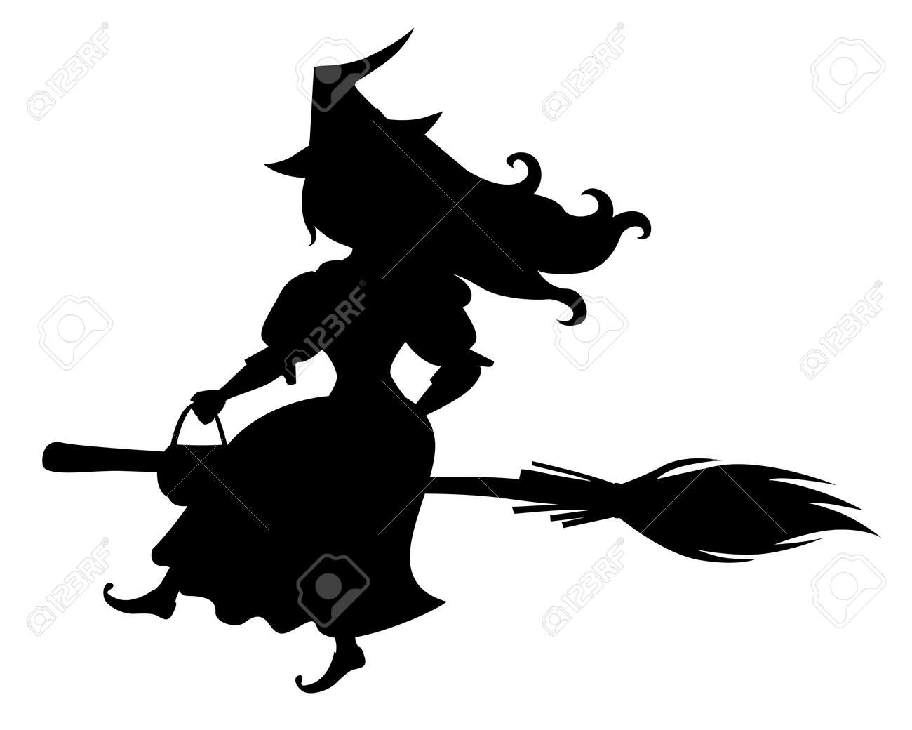 Illustrations Of Cute Halloween Silhouette Witch With Hat On Royalty Free Cliparts Vectors And Stock Illustration Image 85864231
