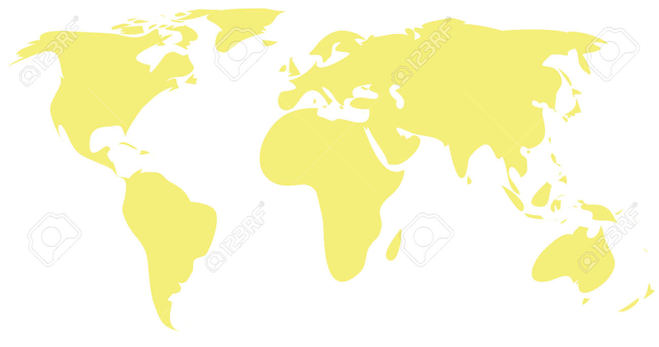 Simple Drawing Yellow World Map Royalty Free Cliparts, Vectors, And ...