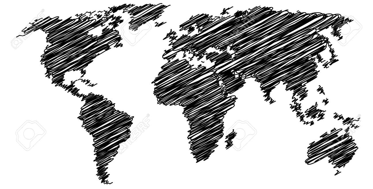 92 world map black and white simple simple world map with cou simple drawing world map stock vector gumiabroncs Choice Image